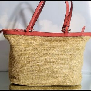 Coach Bags - Coach Woven and Patent Leather Carryall
